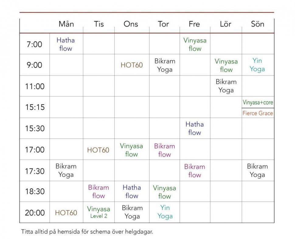 schema hot yoga uppsala träna yoga nybörjare uppsala