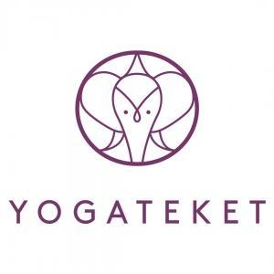 Yogateket logo in pink with text over