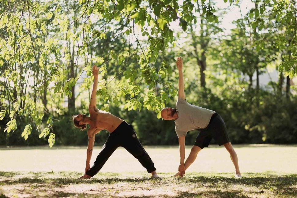 vad är yoga - Two yogis peforming trikonasana